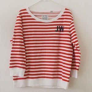 Jack Wills Red & White Breton Stripe Sweatshirt M